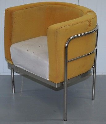 Vintage Designer Tub Armchair With Tubular Aluminum Frame New Ones Rrp £2200