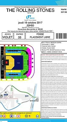 1 ticket The Rolling Stones U Arena Paris 19/10/2017 billet, near the stage