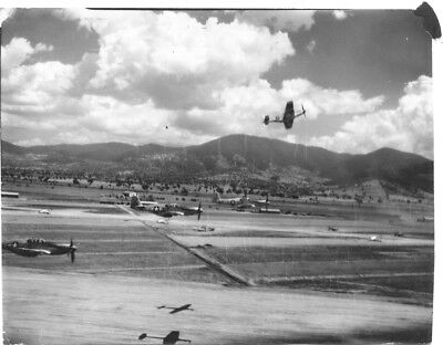 P-51 Fighter Plane Formation Peeling Off To Land Original WWII Photo