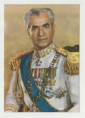 PERSIA SHAH Mohammad Reza Pahlavi WITH ORDERS VINTAGE PHOTO POSTCARD p28729