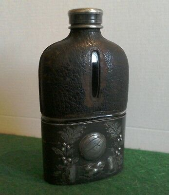 Antique glass, leather and pewter hip flask, early football trophy(?).