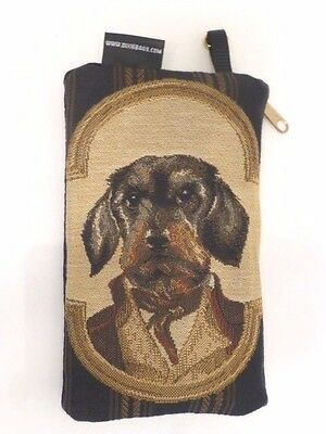 """Irish Wolfhound Tapestry Double-Zip 7 3/4""""x 5"""" Wallet / Make-Up Case, U.S.A."""