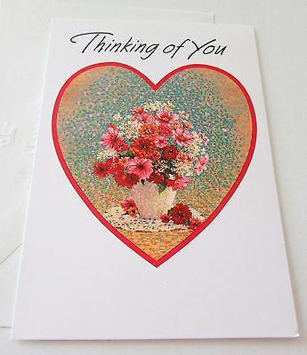 Unused Vtg Valentine Card Pretty Flowers in Vase Thinking of You Hallmark Card