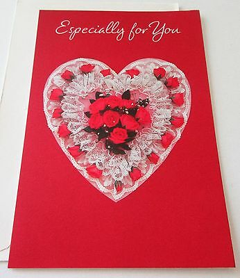 Unused Vtg Valentine Card Lace & Red Roses Heart Hallmark Card