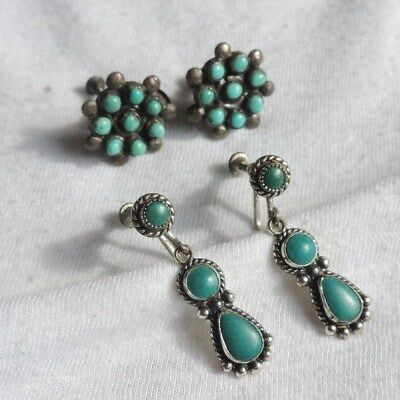 Sterling Silver Turquoise Earrings Vintage Petit Point (ab961