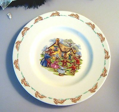 "ROYAL DOULTON  Bunnykins RING AROUND THE ROSIE 8"" Plate"