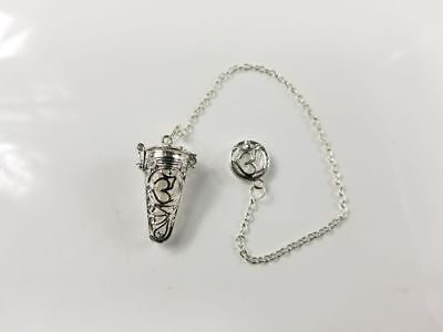 Silver Cone Cage Pendulum/Chips Carrying Holder with Chain and Insignia