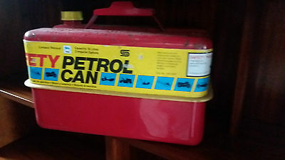 Vintage Red 10 Litre Metal Storage Fuel Can Red Paint *free Uk Postage