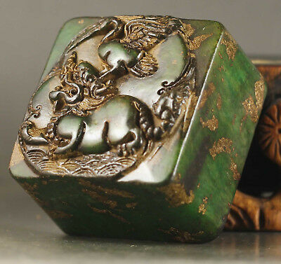 Chinese old natural Jade hand-carved statue dragon jade seal NO.A704