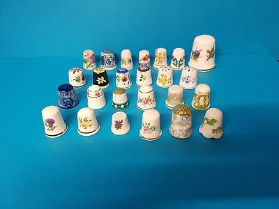 Collection of 25 Porcelain / China Thimbles Flowers Sutherland Limoges etc