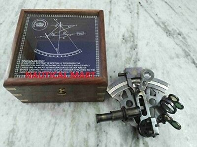 vintage german sextant with wooden box antique finish-