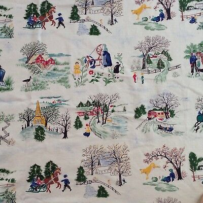 Vintage Grandma Moses Tiles Fabric  Approx. 1+ Yard~ 4 Seasons on Farm material