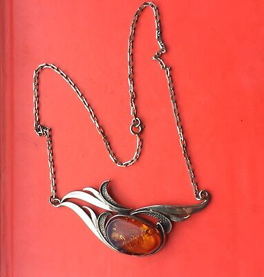 Vintage Silver And Amber Necklace