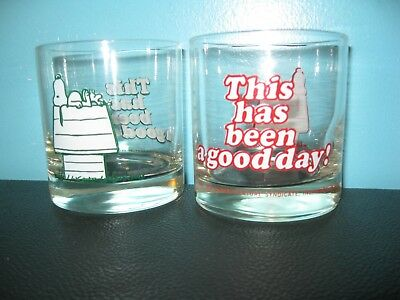 """2 1965 Snoopy """"This Has Been A Good Day"""" Blue & Red Letter Glasses"""