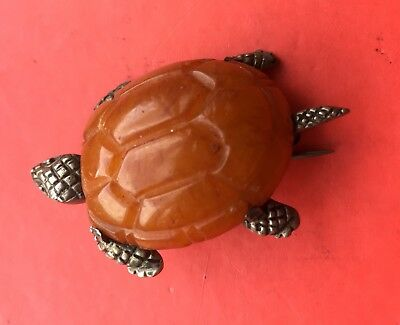 Vintage Butterscotch Amber & Silver Tortoise Brooch