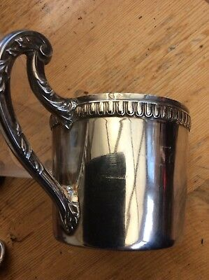 Antique French Silver Beaker Holder And Etched Glass Beaker