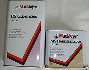 Max Meyer HS 0200 5L MS HARDENER 6000 2.5L 2K CLEAR COAT Lacquer Car Paint Kit