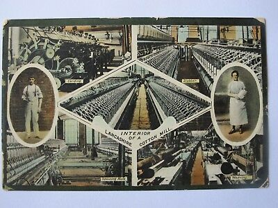 Old postcard Interior of a Lancashire Cotton Mill