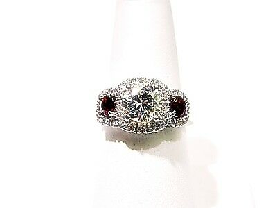 Certified Round Br Shape 7.22X 7.17X 4.45Mm Side Diamond .85 Ct Ruby .83 Ct Ring