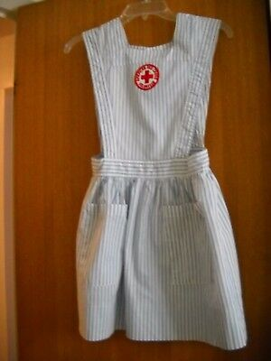 Red Cross Candy Striper Pinafore Vintage Small Teen Costume or Collectible 1970s