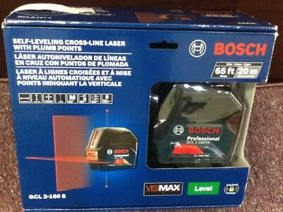 Bosch Self-Leveling Cross-Line Laser With Plumb Points.GCL2-160S 65ft,20m.New