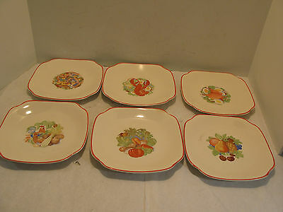 Vintage Universal Cambridge Camwood Ivory Lunch  Plates Qty-6