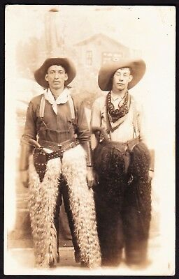 real photo Cowboy wooly chaps bandana holster hat antique postcard RPPC