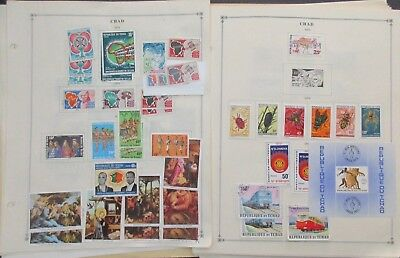 Chad Postage Stamps on 44 Album Pages, 1960s-70s, New Used Hinged