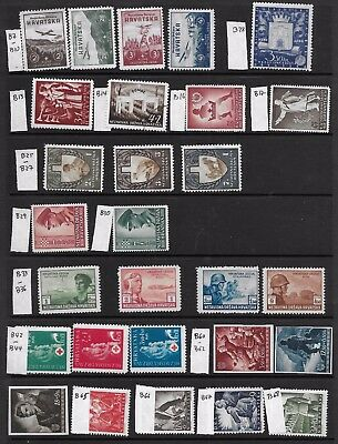 CROATIA 1942-44 LOT of 28;SEMI-POSTAL; MH + USED Sc# B7-10,B13-14,B16-17, etc.