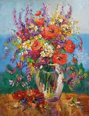 """lz09 Original Still Life Painting Oil/Canvas 52x28cm 20""""x 11"""" Signed Lily"""