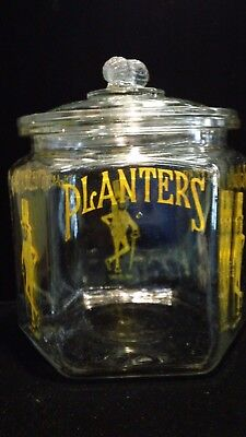 Vintage Planter's Mr. Peanut Large 6 Sided Display Jar With Peanut Lid