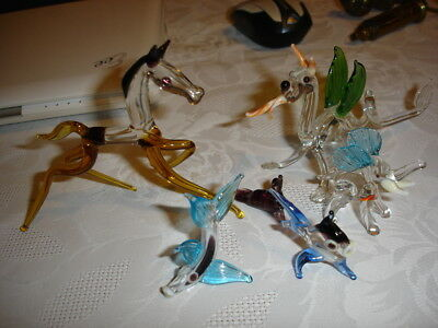 Collection of small coloured glass ornaments Horse Elephant Fish Dragon