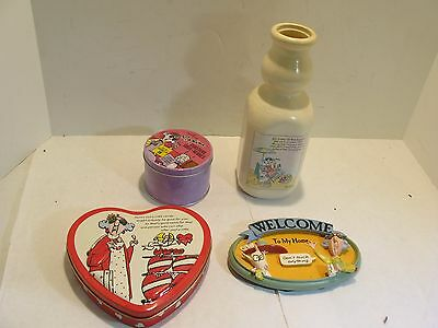 QTY-4 Assorted Items Hallmark MAXINE: milk bottle, welcome, coasters, tin