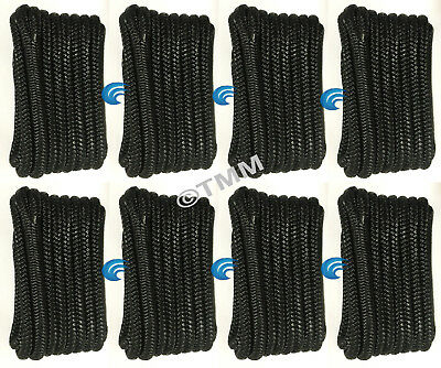 "(8) Black Double Braided 1/2"" x 20' ft HQ Boat Marine DOCK LINES Mooring Ropes"