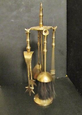 "UNUSUAL SMALL (1/3 Size) 9"" (23cm) VINTAGE BRASS * FIREPLACE COMPANION SET *"