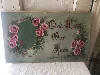Antique Oil Painting Pink Roses  God Bless Our Home Pretty!!