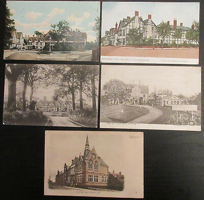 Edwardian postcards x 5 Droitwich Redditch Institute public hall Worcestershire
