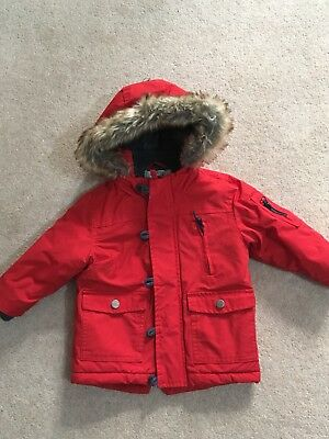 Next Boys Red Winter Parka Coat Age 12-18 Months