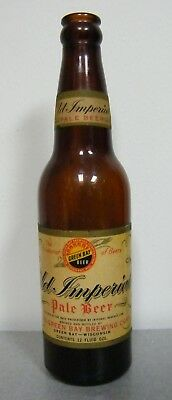 Vintage OLD IMPERIAL PALE 12 oz BEER BOTTLE RAHR GREEN BAY BREWING CORP