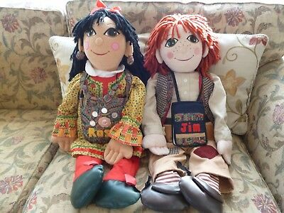 rosie and jim rag dolls with rosies bag and jims drawing book.