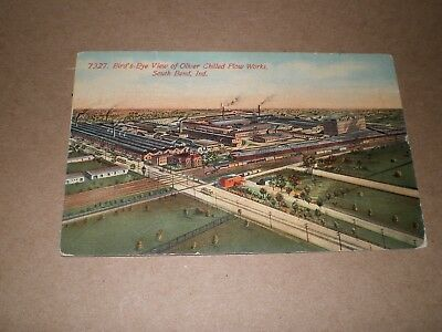 Old Bird's Eye View Oliver Chilled Plow Works South Bend Indiana Postcard