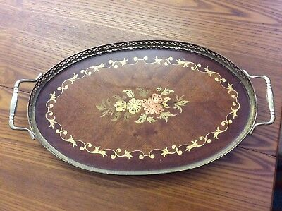 Vintage Marquetry Inlaid Lacquered Wood & Brass Oval Serving Tray