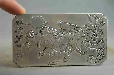 Chinese Collectable Handwork Decor Old Miao Silver Carving Dance Kylin Pendant