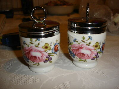 Pair of Royal Worcester Egg Coddler - Floral Roses with silver tops