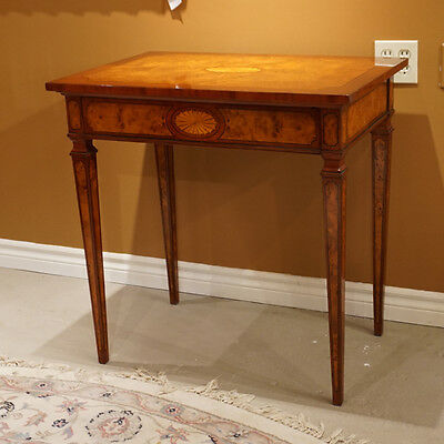 High end unique occasional side Table Mahogany and Burl with inlay