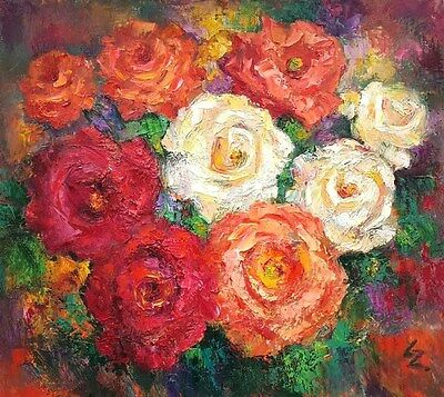 """lz38 Original Still Life Painting Oil/Canvas 47 x 53cm 18.5""""x 20.9"""" signed Lily"""