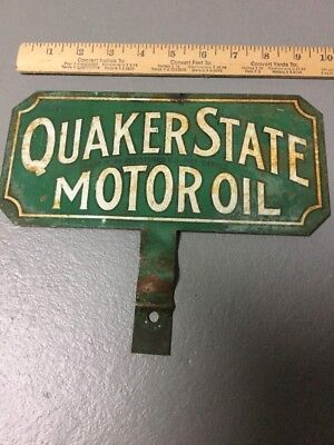 Old Quaker State Motor Oil 2 Sided License Plate Topper Metal Lubster Gas Sign