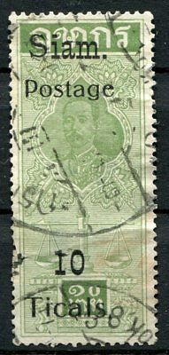 Thailand (Siam) 1907 -   Fiscal stamp, 10 Tical green