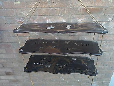 Antique Japanese 3 tier serpentine hanging shelf with beautiful shibbyama scenes