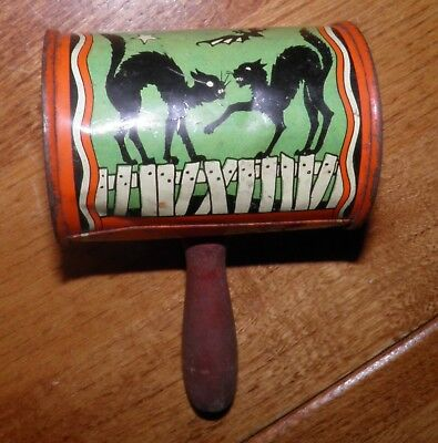 Vintage Halloween Noisemaker Rattle Barrel Can Tin Litho Black Cats works well